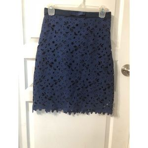 Darling Navy Blue Lace overlay Skirt